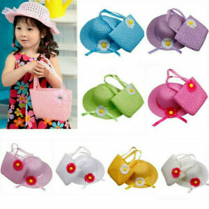 Summer-Beach-Hats-Bags-Suit-Kids-Girls-Flower-Straw-Hat-Cap-Tote-Handbag-Bag