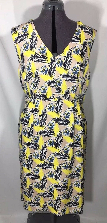 NWT J. Crew 100% Silk Spring Meadow Floral Dress Sz 12 P Petite Yellow