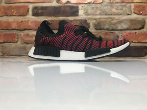 6310c4817 Adidas NMD R1 STLT PK Primeknit Boost Casual Shoes Black Red Mens ...