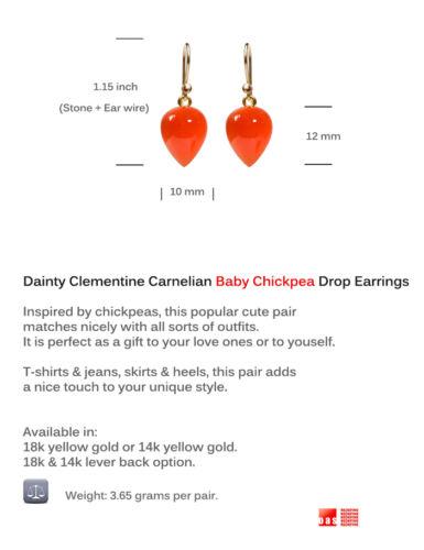 "18K 14K Clementine Carnelian /"" Baby Chickpea /"" Drop Earrings PURE SOLID GOLD!!"