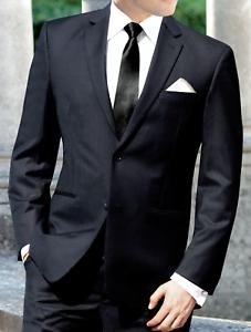 9a49643b5dc Men s Black Businesses Suit with Pants Semi-Formal Wedding Church ...