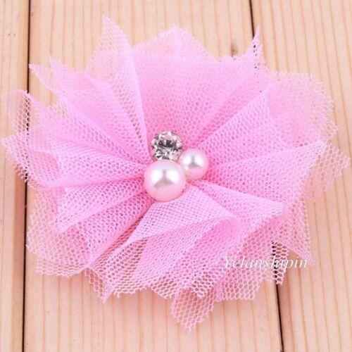 Perles pour Bandeau Cheveux 120PCS Maille Cheveux Fleurs Artificielles avec Strass