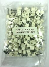 PACK OF 100 VALUE WHITE 4MM ROUND CABLE CLIPS BT VIRGIN TELEPHONE ALARM WIRE