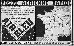 PUBLICITÉ 1936 AIR BLEU POSTE AÉRIENNE RAPIDE SERVICES QUOTIDIENS SAUF DIMANCHE oZ8FYYY1-09152639-730052850