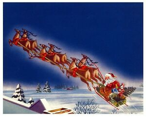 MERRY WHITE CHRISTMAS SANTA CLAUS FLYING REINDEER SLEIGH ...