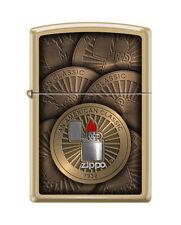 Zippo 7407,  Classic Design-Logo, Brushed Brass Finish Lighter, Full Size