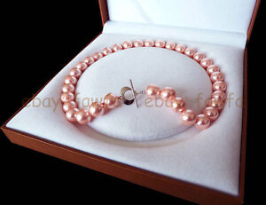 AAA-12mm-Pink-South-Sea-Shell-Pearl-Beads-Necklace-18-039-039-jewelry