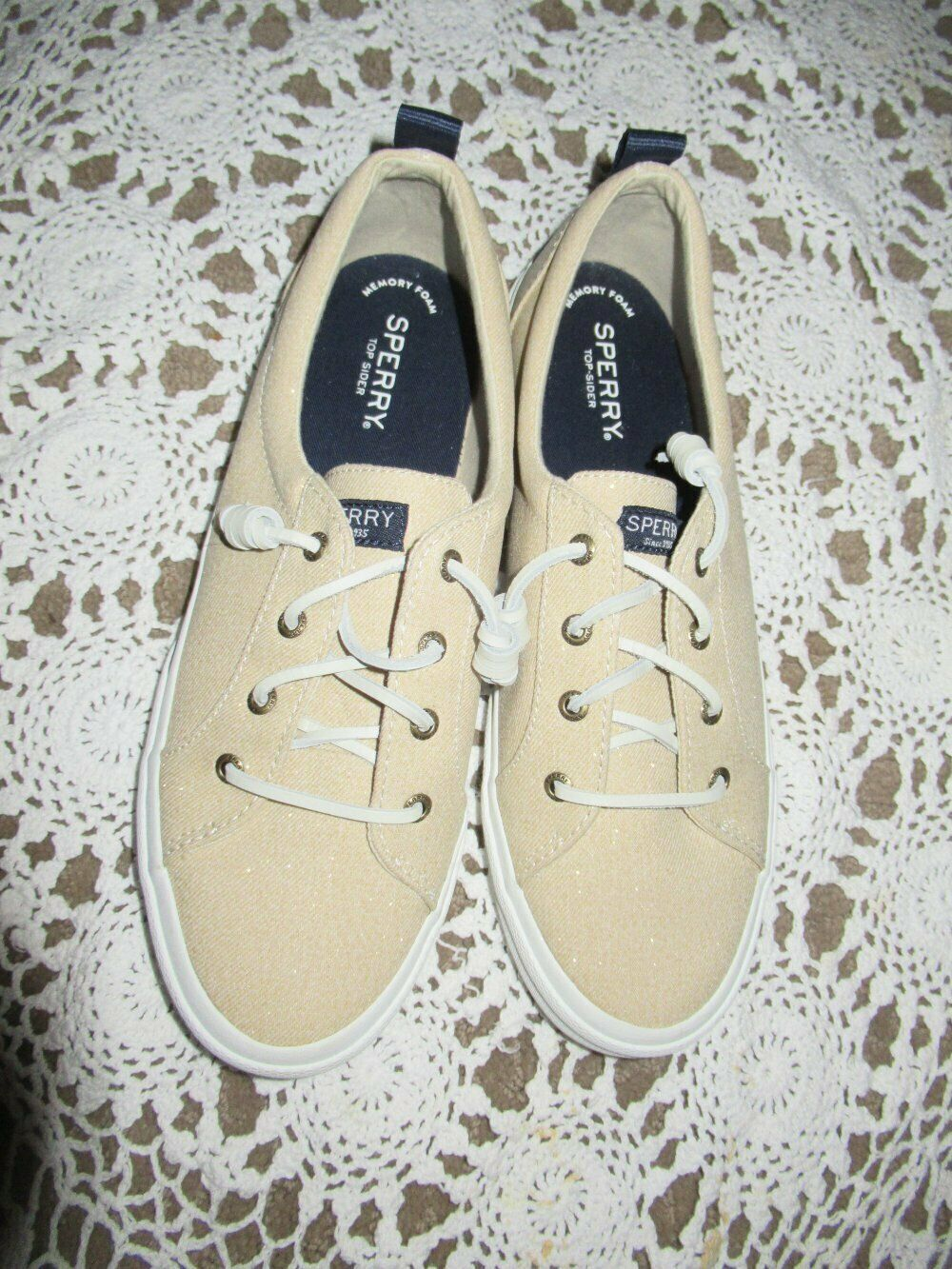 new Sperry glittery beige slip on canvas no tie shoes ladies 10 M free ship USA