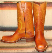 Womens Vintage Texas Brown Leather Indian Cheif Headdress Campus Boots 8.5 M New