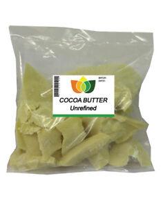 UNREFINED COCOA BUTTER Pure Natural Edible Food Grade 100g - 25kg
