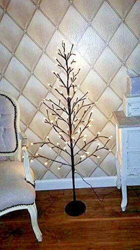 neige Dusted 96 DEL Brindille Arbre Moderne Arbre de Noël Neuf Pré-éclairé rustique Luxe 4 ft environ 1.22 m