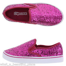 Girl's Liv And Maddie Pink Glitter Slip-on Canvas Shoe School Size 5-1/2 - 5.5