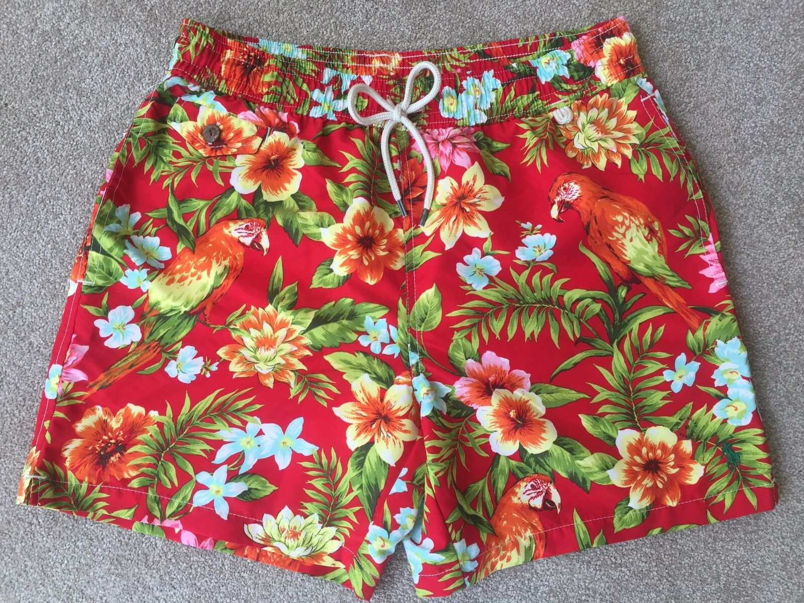 POLO RALPH LAUREN RED & GREEN PARred FLORAL TRAVELER SWIM SHORTS SIZE M 30 -32