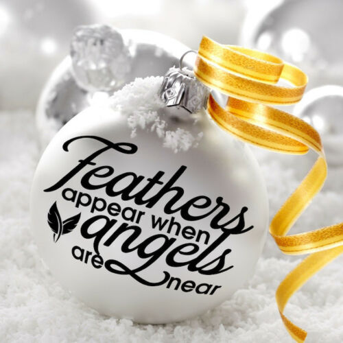 2x FEATHERS APPEAR WHEN ANGELS ARE NEAR BAUBLE DECORATION DECAL STICKER XMAS DIY