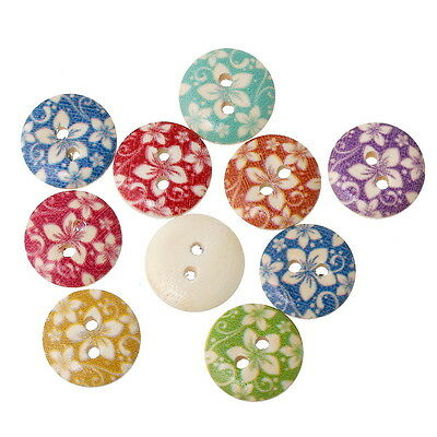 100PCs Wooden Buttons Flower Pattern Mix Color 2-hole Sewing Scrapbook DIY