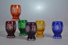 "Crystal glass Vodka shots set of 6 from Poland ""handmade"" Color MIX"