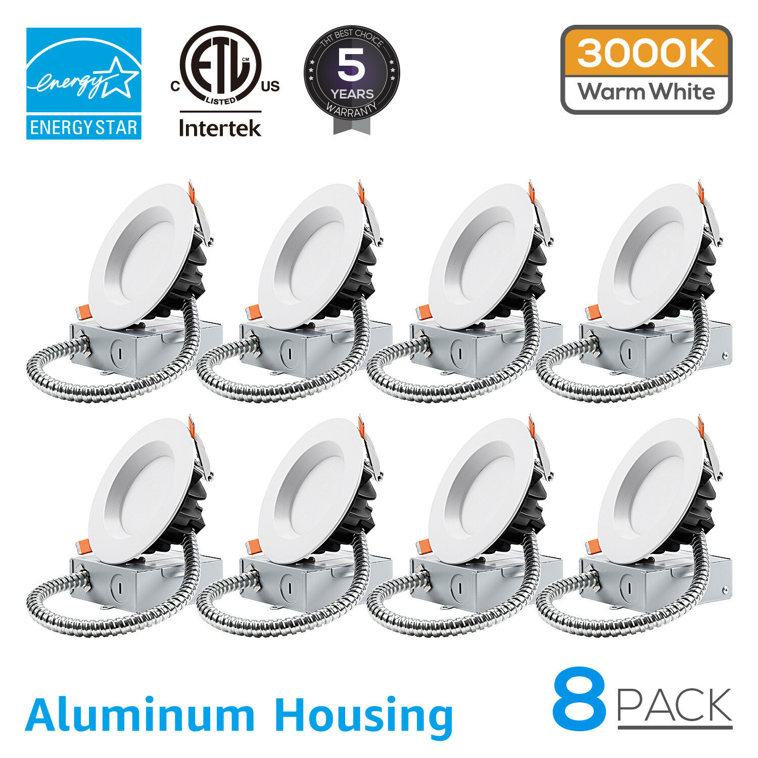 8Pcs 12W Ultra-bright 4inch Dimmable Recessed Ceiling Downlight, ETL listed