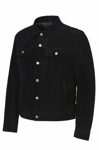 New Winston Men/'s Classic Western Trucker Style Black Soft Suede Leather Jacket