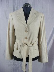 Principles-pale-beige-linen-mix-trouser-suit-UK-12-14-smart-wedding-occasion