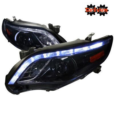 Toyota Corolla 09-10 Headlights Black Amber Projector LED Halo TRD S CE Base