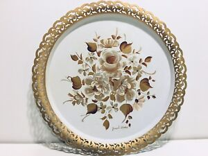 VTG-NASHCO-Toleware-Hand-Painted-15-034-White-Gold-Floral-Metal-Serving-Tray-Signed