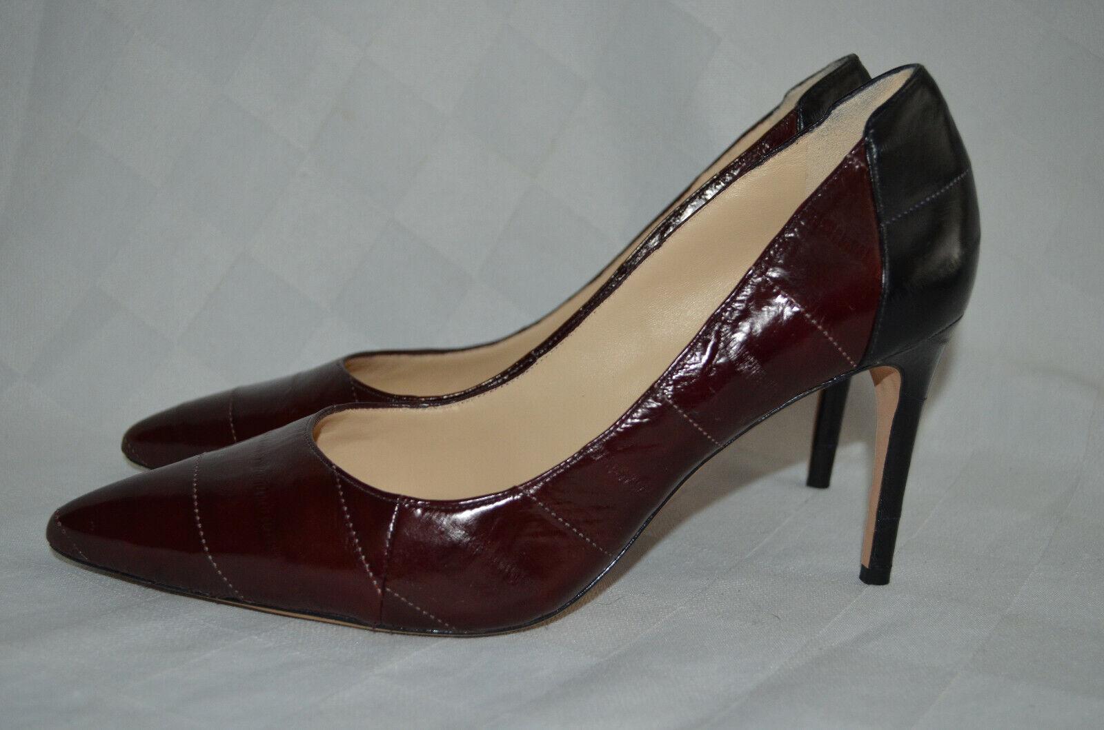 38 7.5 Alexandre Birman Cranberry Black Leather Classic Pumps 3.25