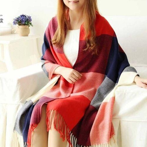 Mens Womens Winter Warm 100/% CASHMERE Scarf Scarves Plaid Wool Long Shawl
