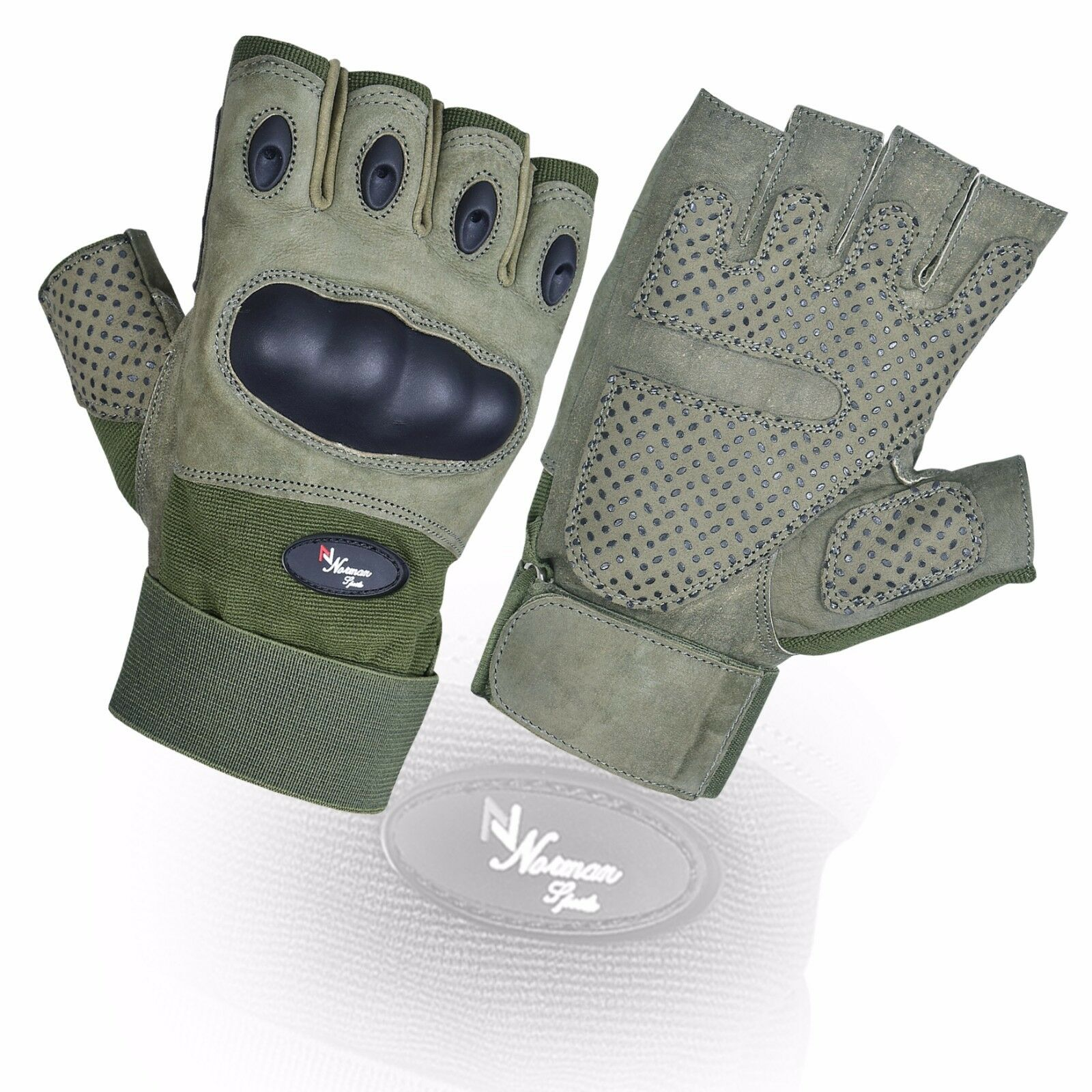Fingerless Tactical Assault Contact Gloves Hard Knuckle Military Army