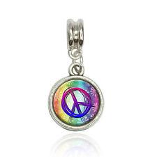 Peace Sign Flowers Rainbow Euro European Italian Style Bracelet Bead Charm