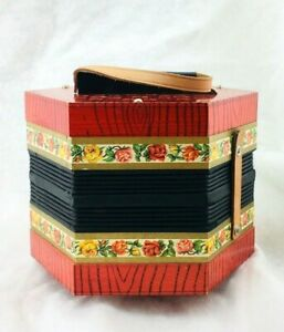 Vintage-Red-Wood-Grain-and-Flower-Design-CONCERTINA-ACCORDION-HAND-HARMONICA