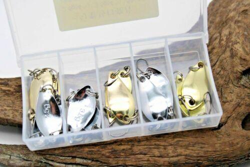 Trout  Spoon Forellen Blinker 12er Set Golden /& Silbern für Barsch /& Döbel