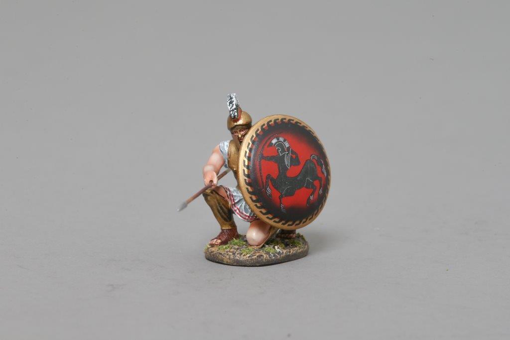 THOMAS GUNN SPA026B - Kneeling Spartan Hoplite Centaur Red Painted Metal