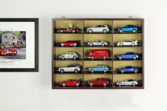 Quality Display Cabinet/Wall Showcase From Wood For 15 Model Cars Brown 1:43