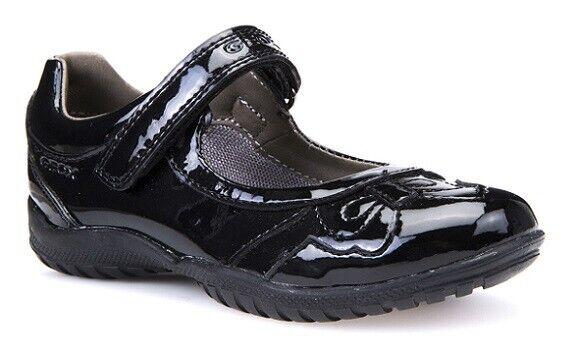 Geox Girls shadow Black Pat School Shoes