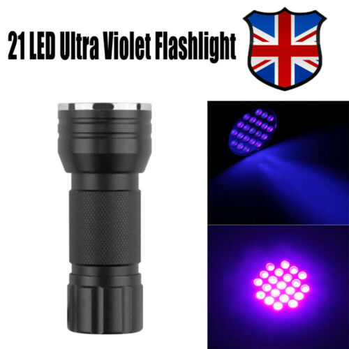 Mini UV Ultra Violet 21 LED Flashlight Blacklight Aluminum Torch Light Lamp