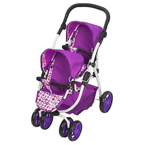 Girls Twin Doll Pram Dimples Ella Tandem Stroller Double ...