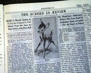 BAMBI-Walt-Disney-Opening-Day-Movie-REVIEW-w-Illustration-1942-WWII-Newspaper