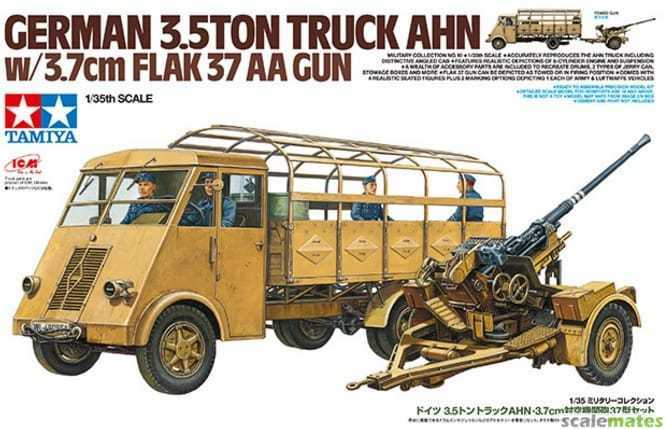 Tamiya German 3.5TON Camion Ahn W/3.7cm Flak 37 Aa Gun 1:3 5 Kit di Costruzione
