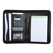 Business Portfolio Padfolio Folder Document A5 Pu Leather Zippered R3q9