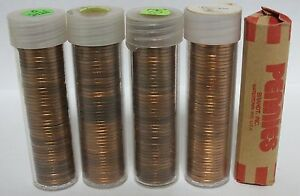 Five-Coin-Rolls-1975-Lincoln-Memorial-Penny-Cents-Uncirculated-Pennies-JR842