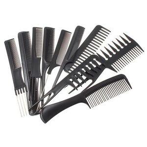 10pz-Hair-Styling-Pettine-Set-Professionale-Nero-Parrucchieri-Spazzola-Barbieri