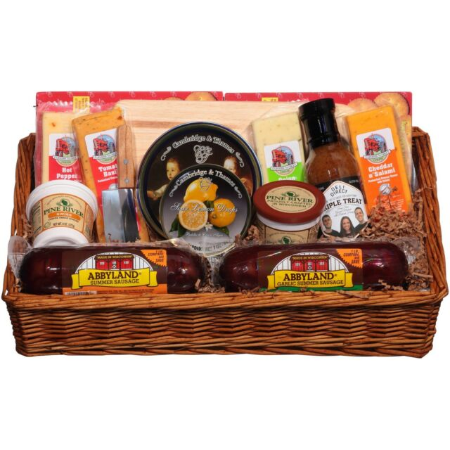Deli Direct Wisconsin Cheese Sausage Large Gift Basket 14 pc Basket