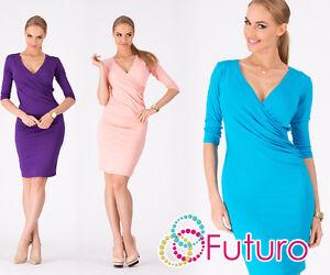 Elegant-Women-039-s-Wiggle-Dress-V-Neck-Mini-Dress-3-4-Sleeve-Sizes-8-18-8985