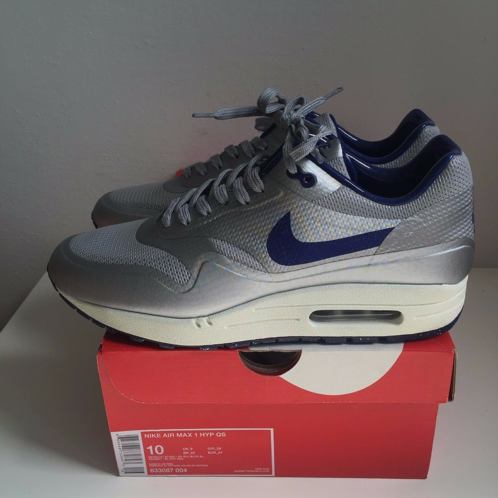 Nike Air Metallic Max 1 Hyperfuse QS Metallic Air Silver Blue 'Night Track' US10 UK9 EUR44 cf6e6c