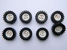 LEGO TECHNIC vintage WHEELS WHITE set of 8 Tire + Wheel 30 x 10.5 mm large tyre