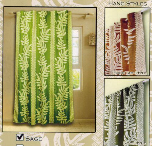 Hawaiian tropical 1 Sheer panel Window treatment curtain drape Floral sage green