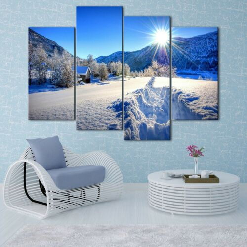Forest Winter Snow Painting 4PCS HD Canvas Print Home Decor Wall Art Picture