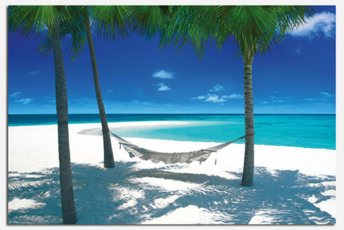 Maxi Size 36 x 24 Inch Hammock In Tropical Paradise Poster New
