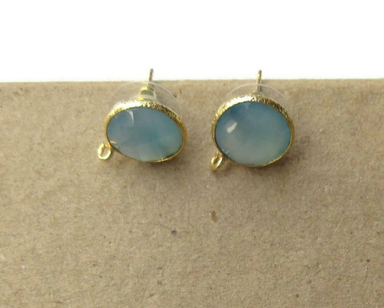 5 Pairs bluee Chalcedony Stud Earring Supplies Findings With Bail GDS1041 10
