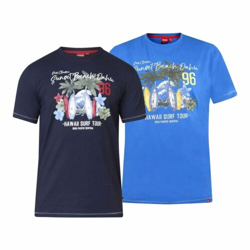Mens Duke Big Size Short Sleeve Beach Hawaii Print T-Shirt 2XL 3XL 4XL 5XL 6XL